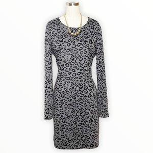 Banana Republic Long Sleeve Leopard Sheath Dress